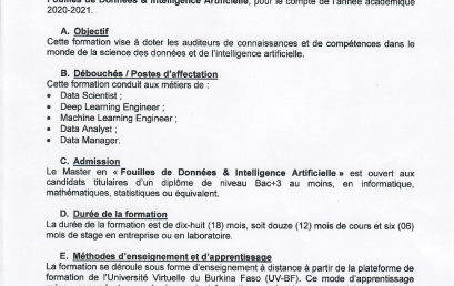Appel à candidatures Master Fouilles de Données et Intelligence Artificielle