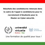 Résultats appel à candidatures pour le Master en Cyber-sécurité