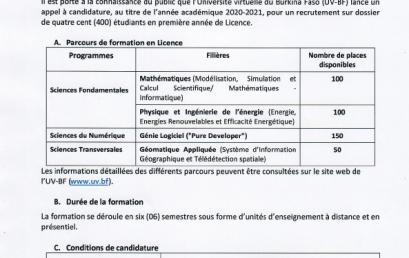 Communiqué recrutement de 400 étudiants sur dossier au titre de l'année académique 2020-2021