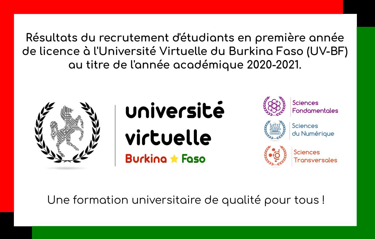 Résultats du recrutement des étudiants de l'UV-BF pour l'année académique 2020-2021