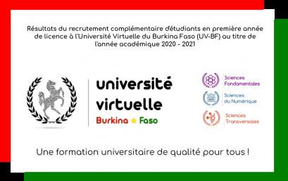Résultats du recrutement complémentaire des étudiants de l'UV-BF pour l'année académique 2020-2021