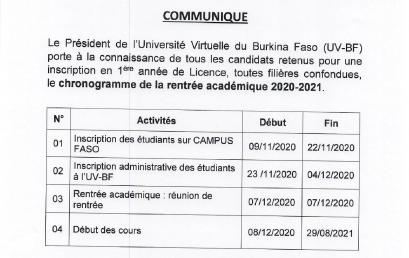 Chronogramme de la rentrée académique 2020-2021 de l'UV-BF