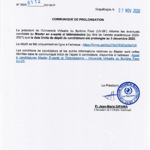 Prolongation de l'appel à candidature pour le Master en e-santé et télémédecine