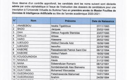 Résultats de l'appel à candidatures pour le recrutement d'auditeurs en Master en Fouilles de Données et Intelligence Artificielle
