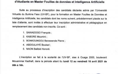 Communiqué relatif à l'appel de la liste d'attente pour le recrutement d'étudiants pour le Master en Fouilles de données et Intelligence Artificielle