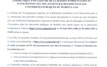 Communiqué relatif à l'ouverture de la session d'orientation et d'inscription 2021 des anciens bacheliers dans les universités publiques du Burkina Faso