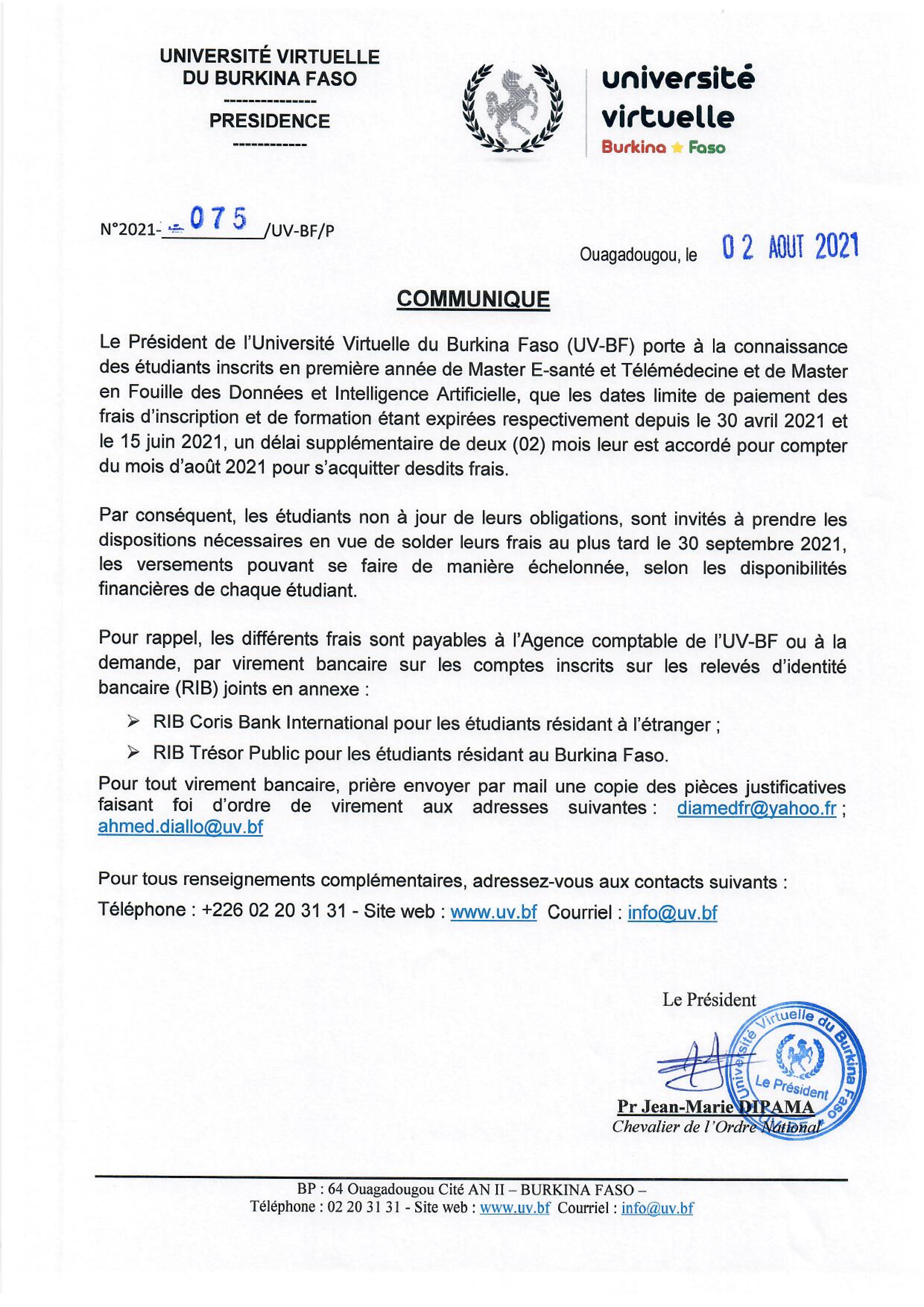 Communiqué relatif à l'acquittement des frais d'inscription et de formation pour les premières années Master