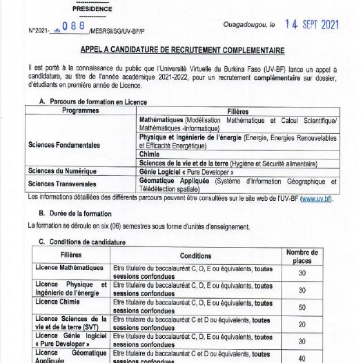 Appel à candidature pour le recrutement complémentaire sur dossier de l'UV-BF au titre de l'année académique 2021-2022