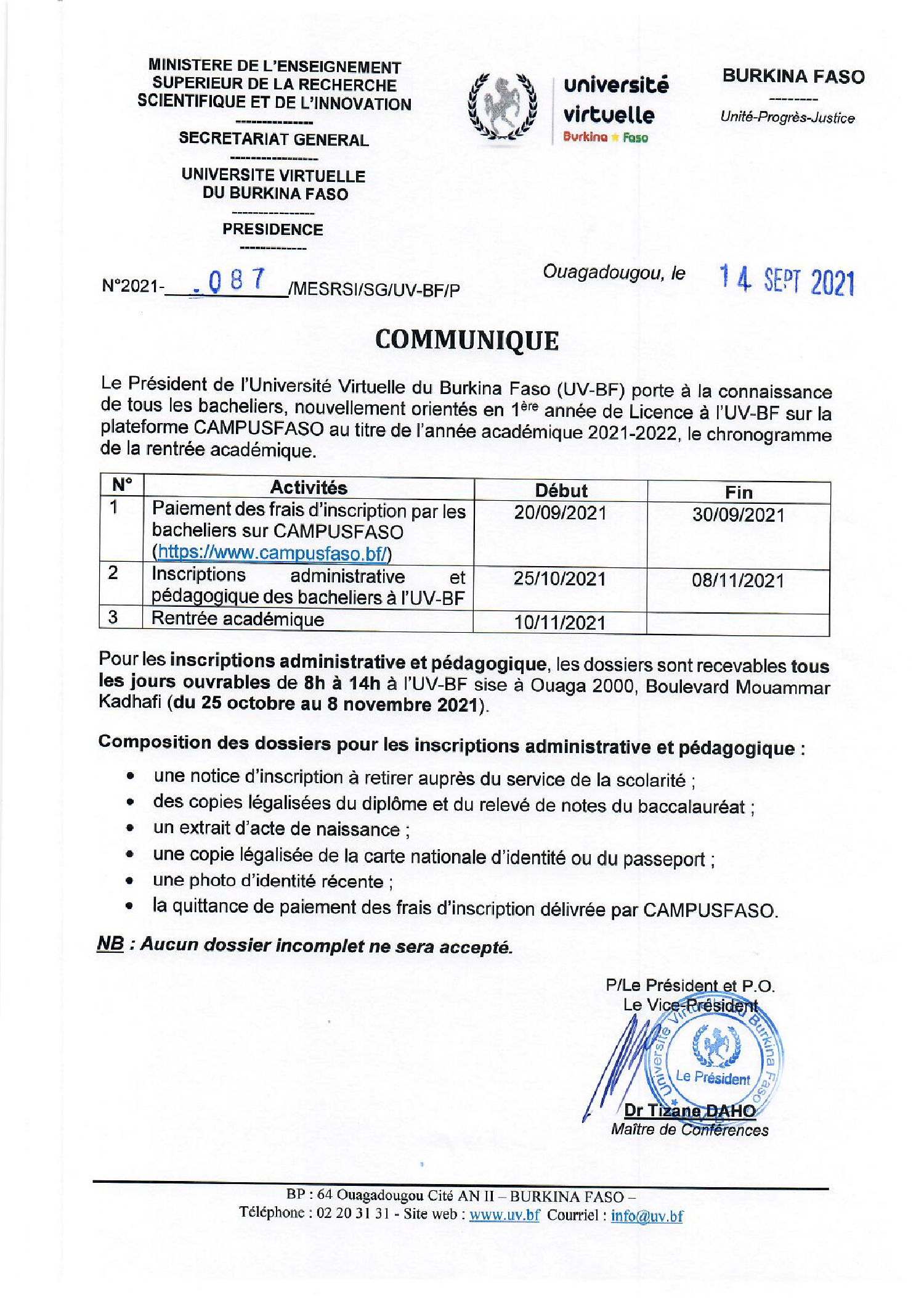 Chronogramme de la rentrée académique 2021-2022 des nouveaux bacheliers orientés à l'UV-BF