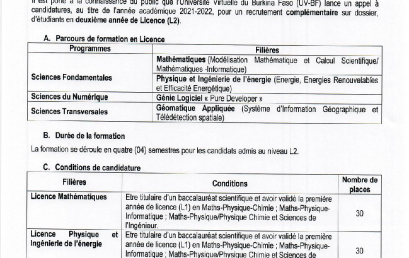 appel à candidatures pour le recrutement complémentaire sur dossier, d'étudiants en deuxième année de Licence