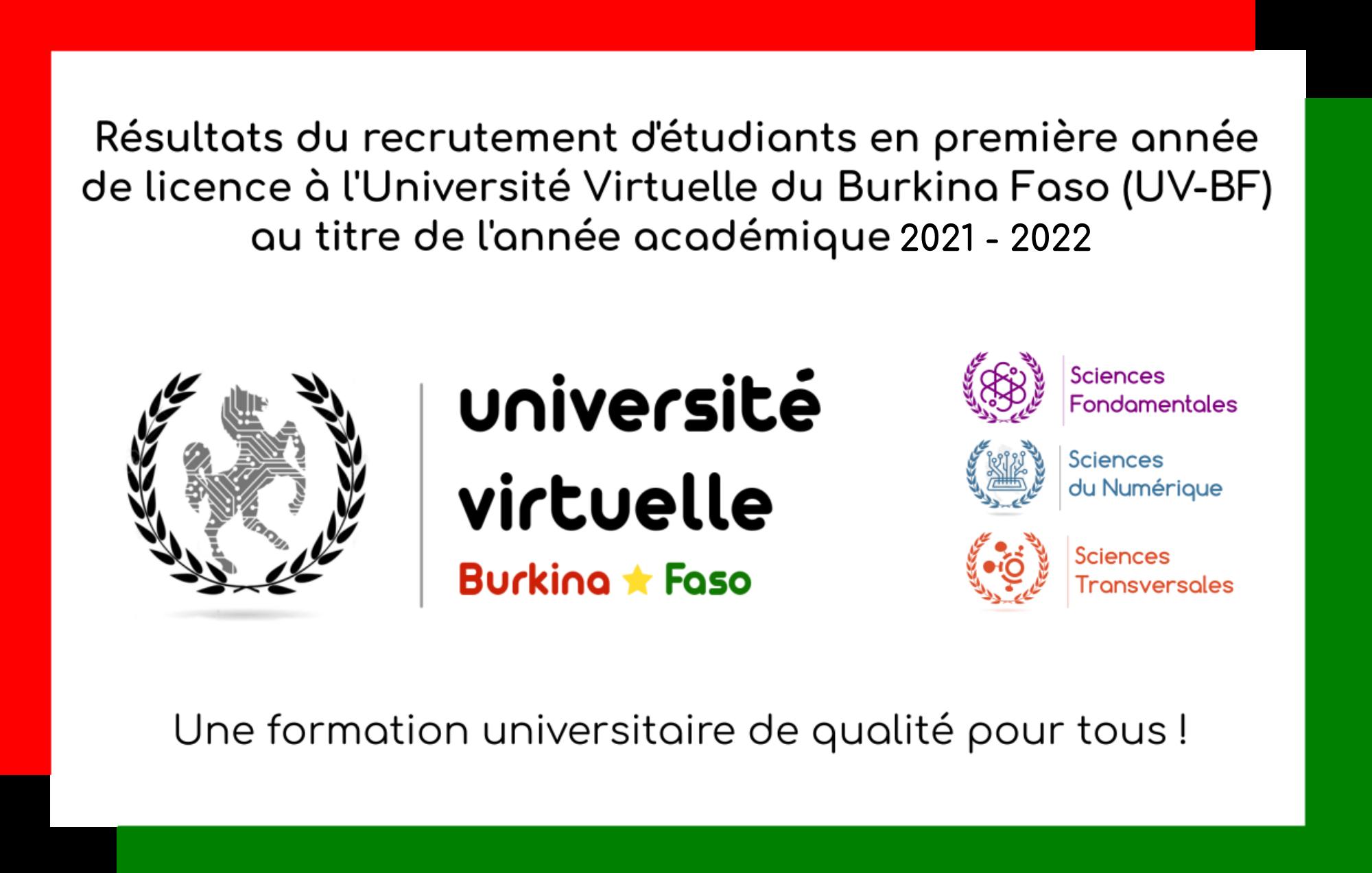 Résultats de l'appel à candidature pour le recrutement complémentaire sur dossier d'étudiant en première année de licence au titre de l'année académique 2021-2022